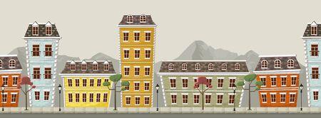 financial district: Big colorful city landscape with buildings Illustration