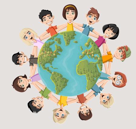 planeta tierra feliz: niños de dibujos animados felices lindos de todo el planeta tierra