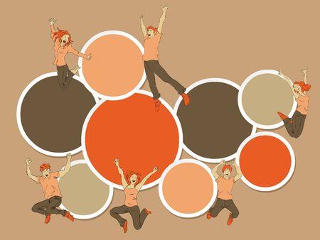 Plantilla para el folleto publicitario con el grupo de personas felices coloridos que saltan