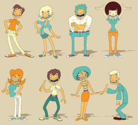 Groep van cartoon grappige mensen Vector Illustratie