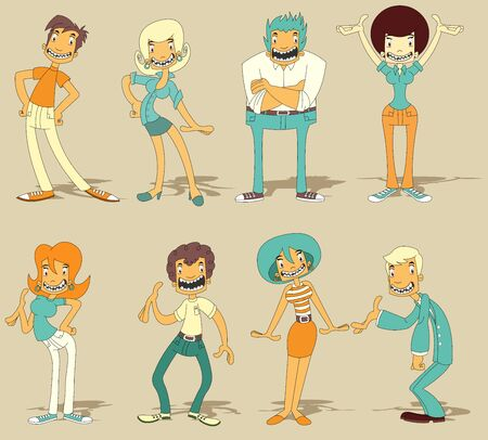 friends happy: Group of cartoon funny people Illustration