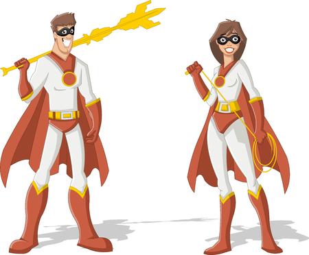 superheroes: Superhero Couple. Male and female superheroes characters.