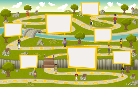 jeu: Road sur parc verdoyant avec des personnes de bande dessinée