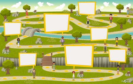 Strada sul parco verde con la gente dei cartoni animati Vettoriali