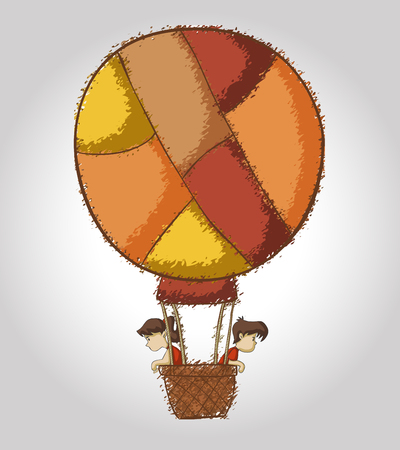 boys girls: Cartoon children on colorful hot air balloon Illustration
