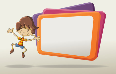eva: Cartoon young boy in front of the big screen. Illustration