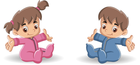 baby illustration: Baby boy and baby girl. Cute toddlers.