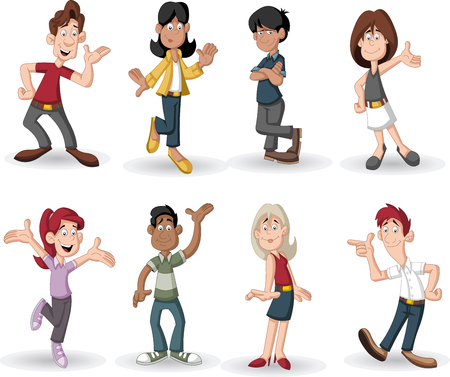 cartoon teenager: Colorful group of happy cartoon people Illustration