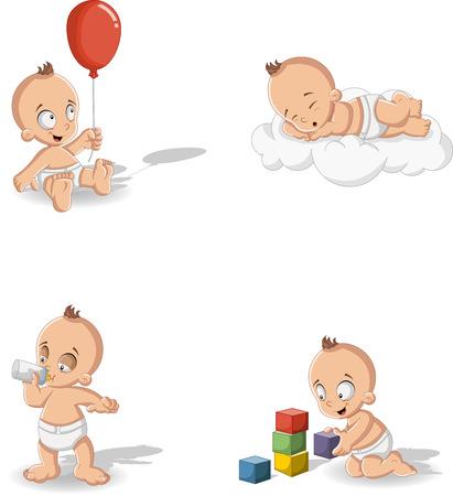 Baby boy wearing diaper. Cute toddler.