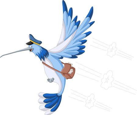 cartero: colibrí azul de dibujos animados con una bolsa de cartero Vectores