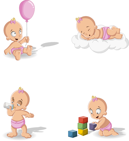 cute baby girl: Baby girl wearing diaper. Cute toddler. Illustration