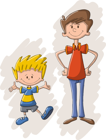 family fun: Colorful cartoon father and son