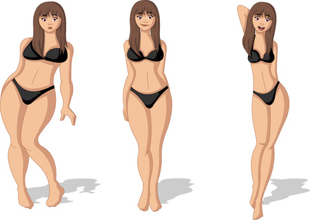 Tłuszczu i szczupła kobieta rysunek. Kobieta przed i po utracie wagi. Ilustracje wektorowe