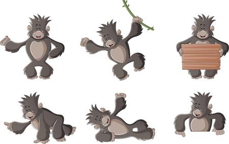 funny cartoon: Funny cartoon gorilla happy. Cute monkey.