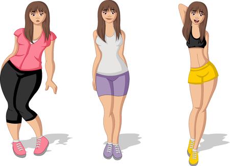 Fett und schlanke Frau Figur. Frau vor und nach der Gewichtsabnahme. Vektorgrafik