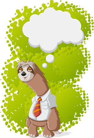 cartoon smile: Lazy cartoon sloths wearing tie thinking Illustration