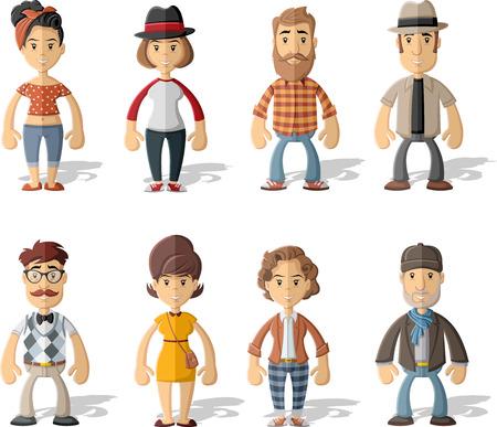 nene y nena: Grupo de personas con ropa de �poca inconformista. Vectores