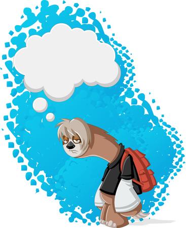 Lazy cartoon luiaards denken. Bored tiener met rugzak.
