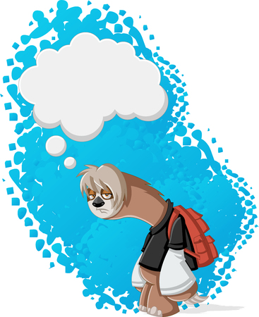 cartoon bubble: Lazy cartoon sloths thinking. Bored teenager with backpack.