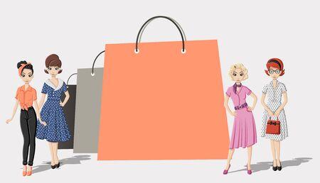 eleganz: Design-Vorlage mit Einkaufspapiertüten und hübsche Frauen Illustration