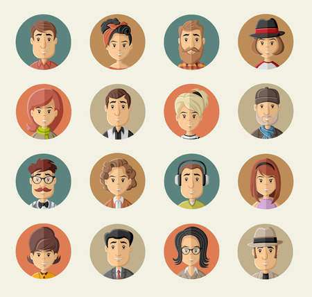 brunette: Grupo de personas felices del dibujo animado
