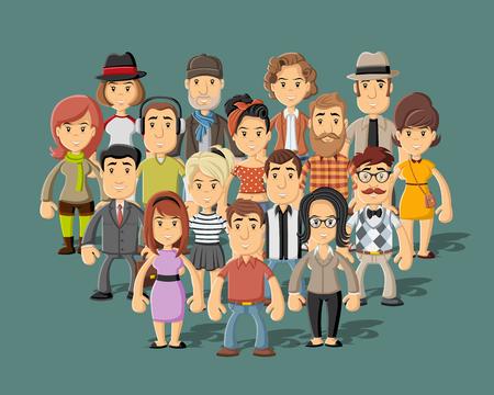 Group of happy cartoon people
