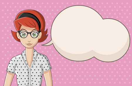 Retro woman wearing vintage clothes talking. Illustration
