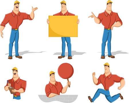 builder: Cartoon worker character in different actions