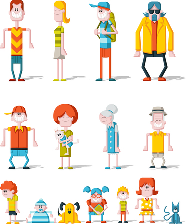 brother and sister: Colorful happy cartoon People. Big family.