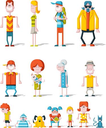 perro familia: Coloridos felices del dibujo animado personas. Gran familia.