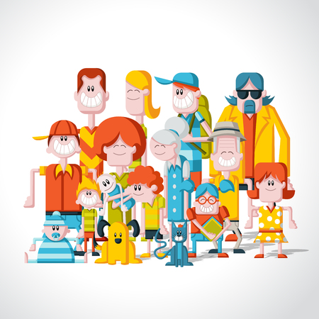 a big family: Colorful happy cartoon People. Big family.