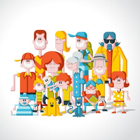 perros graciosos: Coloridos felices del dibujo animado personas. Gran familia.