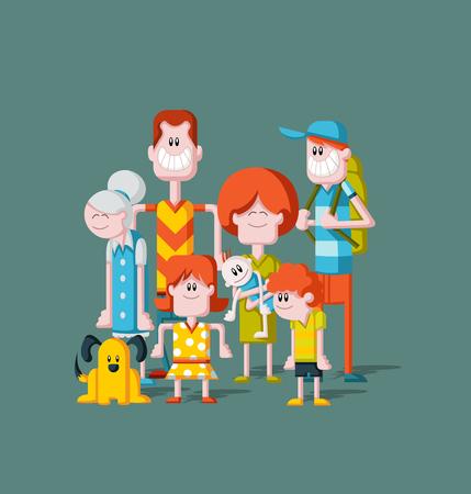 Kleurrijke gelukkige cartoon People. Grote familie.