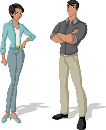 black people: Beautiful young couple. Cartoon black people.