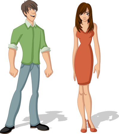 sensual girl: Beautiful young couple. Cartoon people. Illustration
