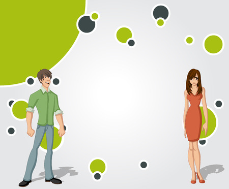for advertising: Template for advertising brochure with beautiful young couple. Design with cartoon people. Illustration