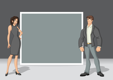 Template for advertising brochure with beautiful young couple. Design with cartoon people. Vetores