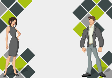 Template for advertising brochure with beautiful young couple. Design with cartoon people. Illustration