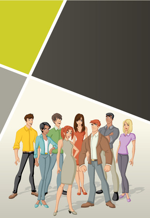 Template for advertising brochure with beautiful young people. Design with cartoon people.