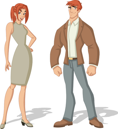 beauty girl pretty: Beautiful young couple. Cartoon redhead people. Illustration