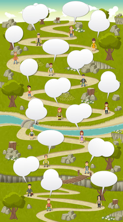 cartoon road: Road on green park with cartoon people talking