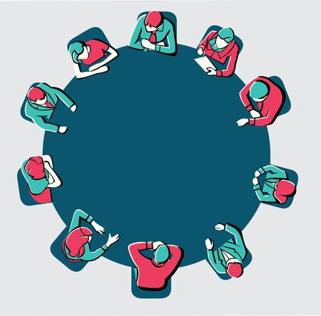 profession: Colorful meeting table with business people working on office Illustration