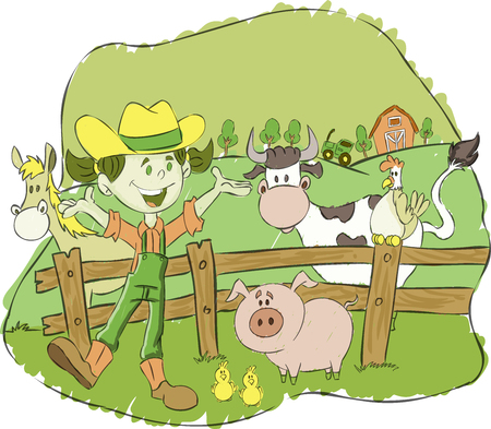 Cartoon farmer girl on a farm with animals