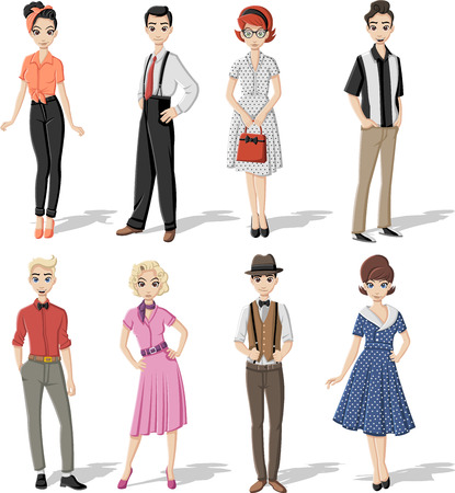 Group of people wearing retro vintage clothes.