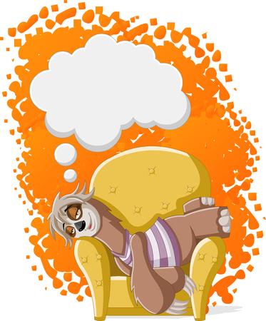 oso perezoso: Lazy perezosos hembra de la historieta en el sofá. Dormir la siesta en el sofá.