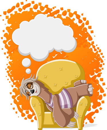Lazy female cartoon sloths on sofa. Napping on the couch. Illustration