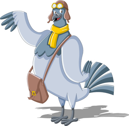 Cartoon carrier pigeon with a postman bag Çizim