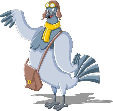 Cartoon pigeon avec un sac de postier Banque d'images - 53285044