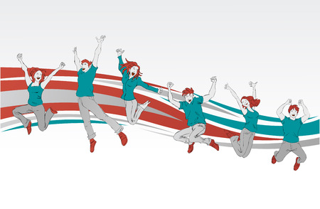 jubilation: Template for advertising brochure with group of colorful happy people jumping
