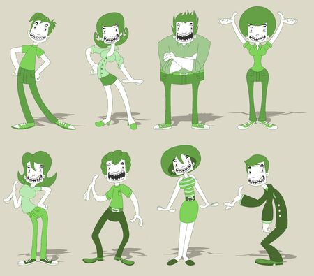 Group of cartoon funny people